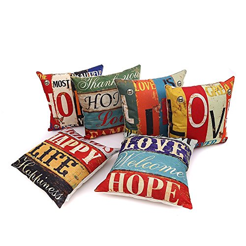 HOSL PCom03 LOVE Series Decorative Cushion Cover Square Throw Pillow Case...