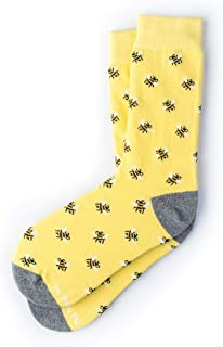 """Bee Yourself"" Bumblebee Hipster Novelty Crew Carded Cotton Women`s Socks (1 Pair)"