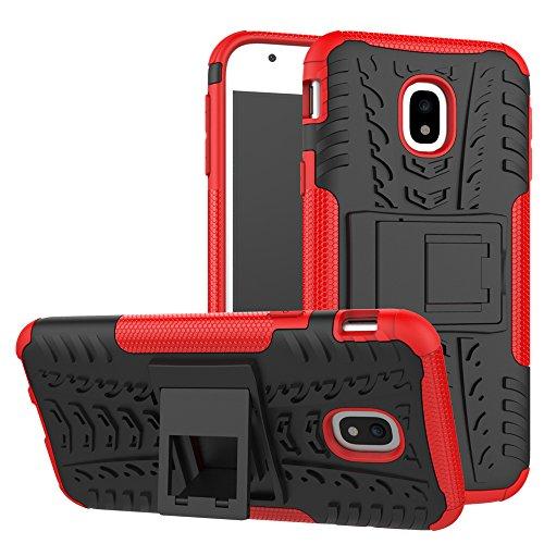 Skytar Galaxy J3 2017 Tasche,Handy hülle für Samsung J3 2017,2IN1 Hybrid Soft Flex TPU Silikon und Hart PC Schutzhülle Back Hülle Cover für Samsung Galaxy J3 2017 DUOS/SM-J330F Hülle mit Kickstand,Rote