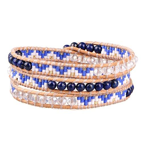 KELITCH Näturlich Blau Kristall Muschelperle Perlen Mix Weben 3 Wicklen Armband Handmade Mode Damen Schmuck (Lapis Rocailles Perlen)