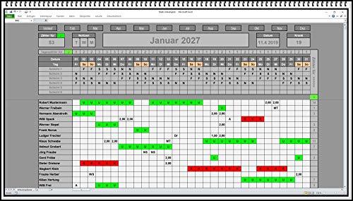 Urlaubsplaner Dienstplaner Schichtplaner bis zu 6 Abteilungen Urlaubskalender Excel Software App ohne Folgekosten