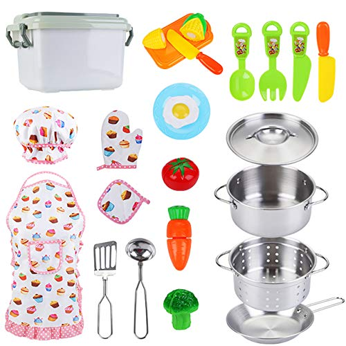 NONZERS 22 Pieces Kitchen Pretend Play Toys with Stainless Steel Cookware Pots and Pans Set, Cooking Utensils, Apron & Chef Hat, Cutting Vegetables, Educational Learning Tool STEM Gift for Kids, Girls