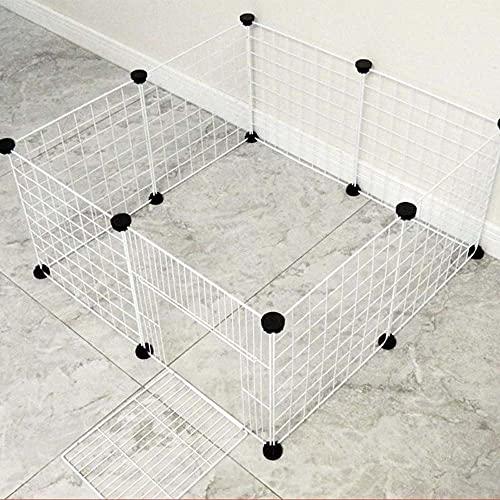 ペットフェンス 脱走防止 ペットサークル 小型犬 猫 小動物 ウサギ 室内 フェンス レイアウト自由 35cm×35cm鉄製正方形メッシュ屋内/屋外 組み立て簡単 折りたためる 取り付け簡単(12枚セット,ドア付)