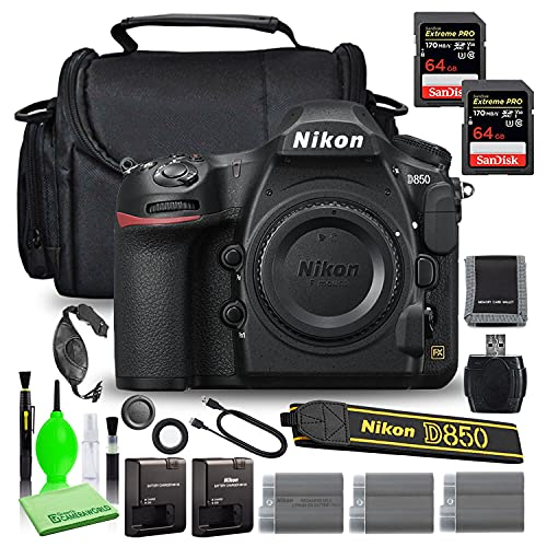 Nikon D850 DSLR Digital Camera Body Only (1585) USA Model Bundle with (2) SanDisk 64GB Extreme PRO SD Card + (2) Extra Compatible Batteries and Battery Charger + Large Camera Bag + More