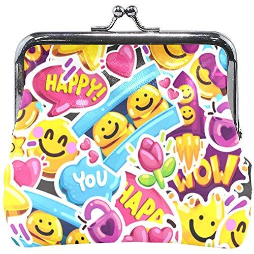Happy Expression Smiley Face Emotion Monedero Monedero Bolsa...