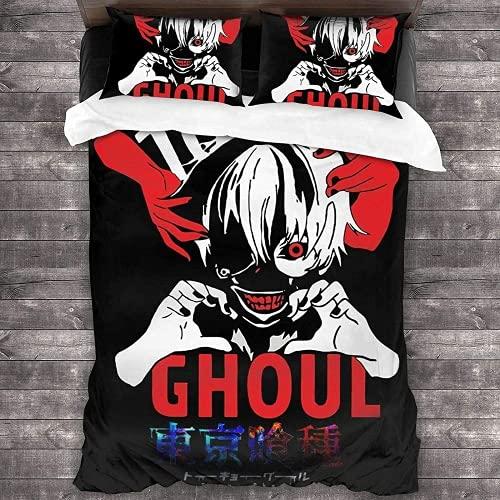QWAS Tokyo Ghoul - Juego de ropa de cama, funda de edredón con diseño de Jin Muyan, suave y liso, sin irritación, traje de tres piezas, hipoalergénico (7,220 x 240 cm + 50 x 75 cm x 2)