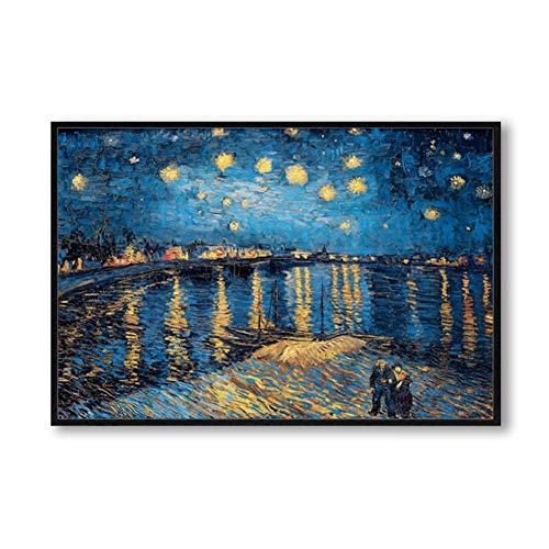 sjkkad Elegante poëzie sterrennacht Op de Rhone von Vincent Van Gogh beroemde kunstenaar kunstdruk poster muurschildering linnen schilderij 60 x 80 cm geen lijst