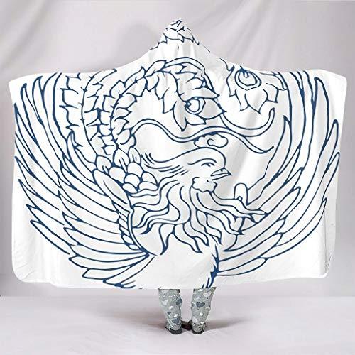 kikomia Chinesisch Totem-Spiegel Weiß Blau Vogel Umhang mit Kapuze Warm Boho Umhang für Teenager Erwachsene Studenten Auf Schlafsofa Couch Geschenk White 130x150cm