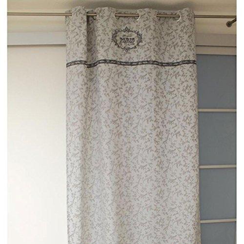 Soleil d'ocre Rideau en Coton imprimé 140x240 cm Paris Gris, 140 cm x 240 cm