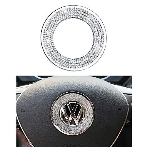 1797 Compatible Steering Wheel Logo Caps Decals Sticker for VW Volkswagen Accessories Parts Bling Jetta Passat Golf Tiguan Arteon Atlas Covers Interior Decoration Trim Women Men Crystal Silver