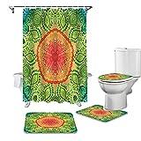 ZSDFPW 3D Gedruckter Duschvorhang Grüngelbes Blumenmuster Duschvorhang gesetzt Polyester für Badezimmer wasserabweisend & Anti-Schimmel waschbare Badematte 180×200 cm