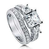 BERRICLE Rhodium Plated Sterling Silver Princess Cut Cubic Zirconia CZ 3-Stone Anniversary Wedding Engagement Ring Set 3.6 CTW Size 7