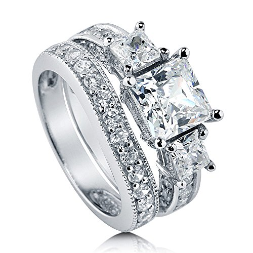 BERRICLE Rhodium Plated Sterling Silver Princess Cut Cubic Zirconia CZ 3-Stone Anniversary Engagement Wedding Ring Set 3.58 CTW Size 5.5