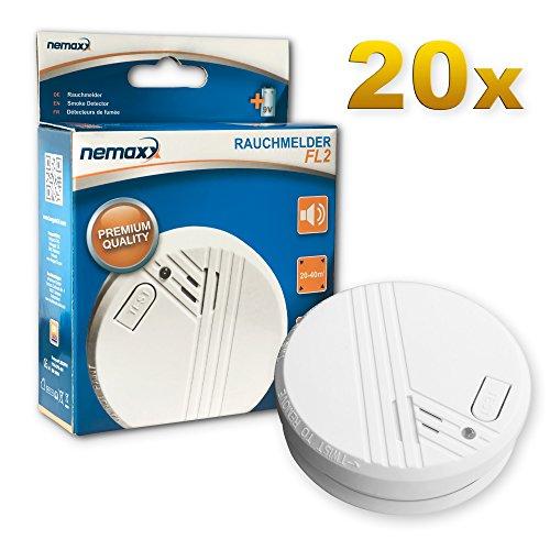 20x Nemaxx rilevatori di fumo FL2 - secondo EN 14604 con tecnologia fotoelettrica sensibile e senza fili!