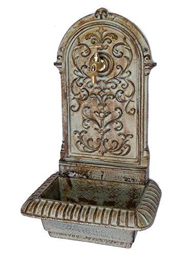 aubaho Brunnen 66cm Waschbecken Brunnen Eisen grün Wandbrunnen antik Stil Gartenbrunnen