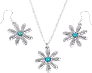 10th for Her - Turquoise Tin Flower Earring and Pendant Set -