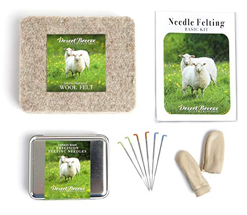 Basic Tools Needle Felting Kit, Pure Wool Felting Pad, 6 Needles Various Sizes, Leather Finger Guards