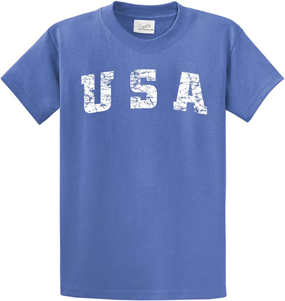 Joe's USA -Tall Vintage USA Logo Tee T-Shirts in Size Large Tall - LT Ultramarine Blue