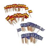 Regalo 200 piezas de papel kraft para cupcakes, decoración para tartas, banderas de comida, palos de canapé, boda, despedida de soltera, decoración para fiestas, Grecia + España (Color : Default)