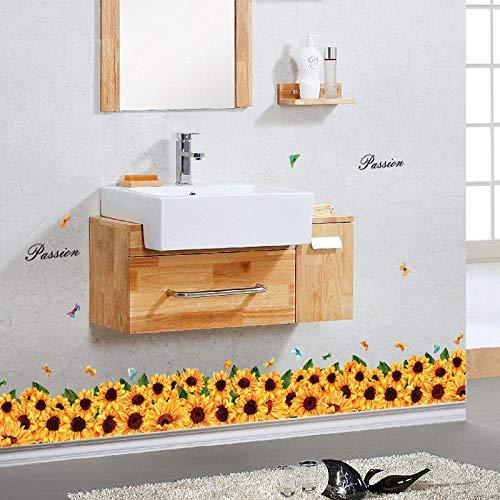 Muurstickers & muurschilderingen, decoratieve muursticker zonnebloem basisbord kast veranda glazen deur en raamkast achtergrond behang 50 * 70cm