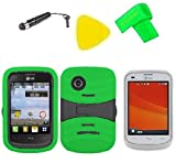 Heavy Duty Hybrid Phone Cover Case Cell Phone Accessory + LCD Screen Protector Guard + Extreme Band + Stylus Pen + Yellow Pry Tool For Tracfone StraightTalk LG 306G LG306G (S-Hybrid Green Black)