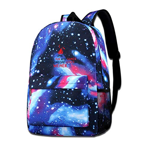 AOOEDM School Bag,It's All Fun and Games Until Someone Sarcastic School Backpack Galaxy Starry Sky Book Bag Kids Boys Girls Daypack