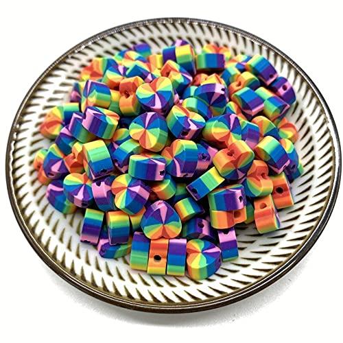 NTZ 30 unids/Lote 10 mm Forma de corazón Beads Polymer Clay Beads Mixed Color Polymer Clay Spacer Beads para la joyería Que Hace Bricolaje Pulsera Yc0506 (Color : 13)