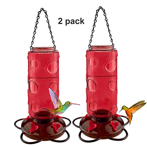 Urban Deco Hummingbird Feeder Red Glass Hummingbird Feeders Red Wild Bird Feeder Hanging 5 Nectar Feeding Stations,30 oz,Red Bottle 2 Pack