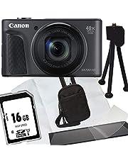 1A Photo PORST Oferta de Aniversario Canon Powershot SX730 HS Cámara Digital Negro + Tarjeta de Memoria SD 16GB + Estuche + Protector de Pantalla + Mini trípode + Paño de Microfibra