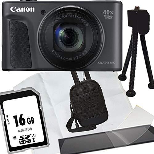 1A Photo PORST Jubiläumsangebot Canon Powershot SX730 HS schwarz Digitalkamera+SD 16 GB Speicherkarte+Tasche+Display-Schutzfolie+Mini Stativ+Mikrofasertuch