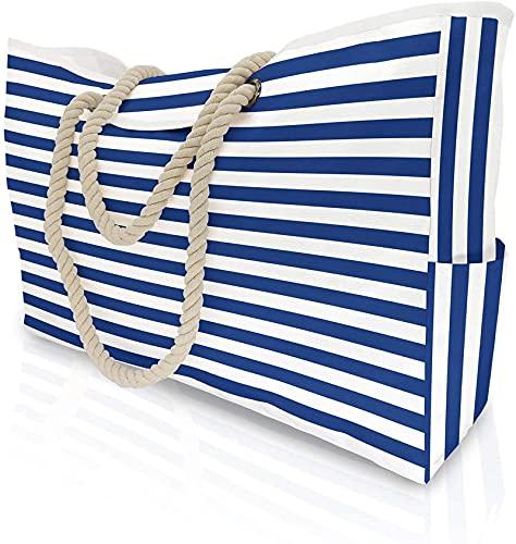 MRZJ Extra große Damen Strandtasche mit Innentasche Shopper Schultertasche Blau-weiße Streifen