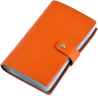 Jonon Leather Credit Card Holder Business ID Card Case Book Style 90 Count Name Card Holder Book Orange