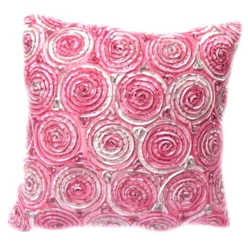 (Simple) Pouf Deux Tons Roses 3D Violet Couvre-lit Housse de Coussin/Oreiller Sham Faite à la Main en Satin et en Soie thaïlandaise décoratifs pour canapé, Voiture et Salon Taille 40,6 x 40,6 cm