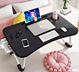 Foldable Bed Table for Laptop,Laptop Desk Table Stand,Laptop Bed Tray Table with Storage Drawer-Cup Holder, Notebook Stand Lap Desk for Writing Reading Eating, Portable Laptop Table for Bed Sofa Floor
