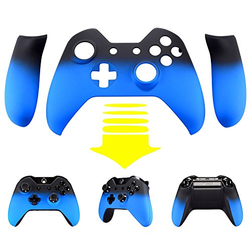 eXtremeRate Lake Blue Shadow Soft Touch Top Shell Front Housing Faceplate Replacement Parts with Side Rails Panel for Xbox One Controller W/3.5 mm