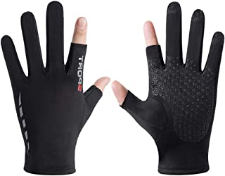 Lujuny Touch Screen Thin Sun Gloves - Index Finger and Thumb Fingerless Inner Mitten for Photography, Writing, Driving, Cycling
