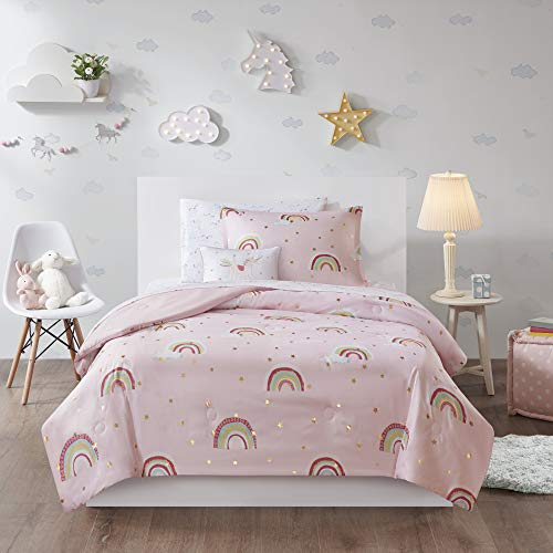 Mi Zone Kids Alicia 6 Piece Kids Comforter Rainbow, Metallic Print Stars Design Embroidered Unicorn Toss Pillow Fun All Season Bedding Matching Sham and Complete Sheet Set, Twin, Pink