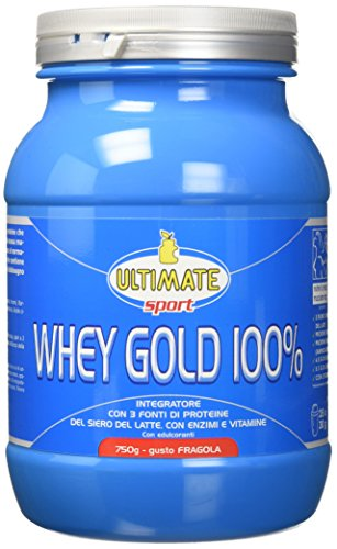Ultimate Italia Whey Gold 100% - Proteine del Siero Latte Isolate e Idrolizzate – Integratore di per la Crescita il Mantenimento della Massa Muscolare Magra Gusto Fragola, 750G