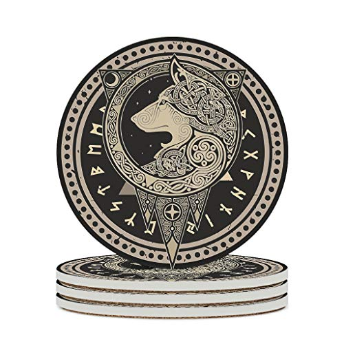 Fineiwillgo Viking Wolf Protective Round Ceramic Coasters with Cork Base Designed for Cups Holiday Party Diameter of 9.8 cm White Pack of 4