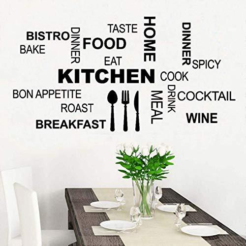 AGiuoo Cocina Arte de la Pared Comida Texto Palabra Pared Vinilo Pegatina Pared Cocina decoración Moderna extraíble 95x57cm