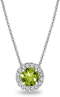 Sterling Silver Genuine or Simulated Gemstone & White Topaz Round Halo Slide Necklace