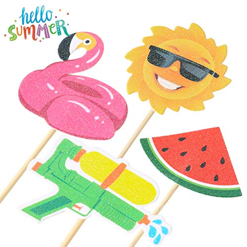 36Pcs Hawaii Theme Party Decoration,Summer Pool Beach Party Cupcake Topper Glitter Beach Ball Watermelon Umbrella Sun Water Slippers Goggles Cupcake Toppers for Summer Birthday Tropical Luau Hawaiian Theme Party Supplies