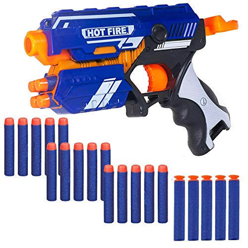 WISHKEY Plastic Blaze Storm Manual Soft Bullet Gun Toy with 20 Safe Soft Foam Bullets, Fun Target Shooting Battle Fight Game for Kids (Pack of 1, Multicolor)