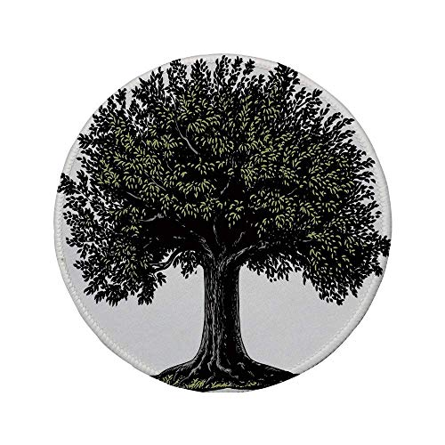 Rutschfreies Gummi-rundes Mauspad Baum des Lebens digitales Design eines reifen Obstbaums im Retro-Gravurstil König des Waldes Braungrün 7.9