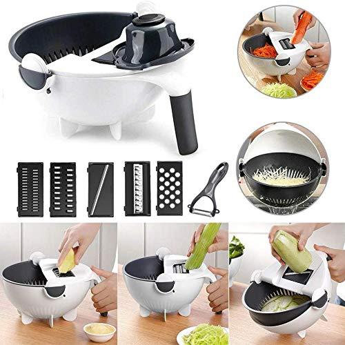 XIONGGG Cortador de verduras multifunción con cesta de drenaje de gran capacidad, herramienta de cocina portátil