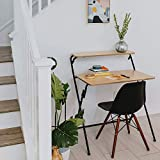 SOFSYS Modern Folding Desk for Small Space, Computer Gaming, Writing, Student and Home Office Organization, Industrial Metal Frame with Premium Desktop Surfaces, Oak/Black