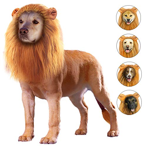 GALOPAR Lion Mane for Dogs Realistic Lion Wig Dog Lion Costume, Halloween Christmas Funny Dog Costumes Photo Shoots Entertainment, Suitable for Medium and Large Sized Dogs