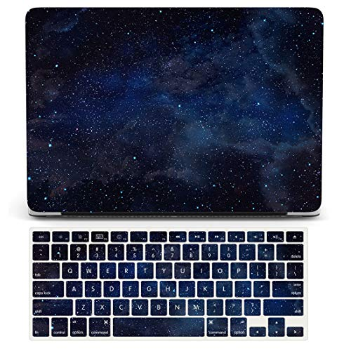 One Micron Case+Keyboard Cover for MacBook Pro 13 inch 2019-2016 Release A2159 A1989 A1706, Rubberized Hard Case Cover Compatible MacBook Pro 13' with Touch Bar-Night Sky