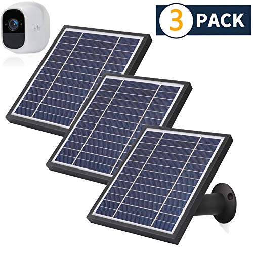 iTODOS 3 Pack Solar Panel Compatible with Arlo Pro 2, 11.8Ft Outdoor Power Charging Cable and Adjustable Mount ,Not for Arlo Ultra and Arlo Pro3(Black)