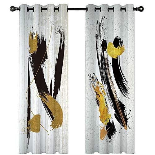 3D Cortinas Opacas,Digital Printing Shade Ojal Vertical Curtains, Patrón Rosa Amarillo Simple Elegante Perforado Cortinas De Aislamiento Transpirable, Para La Sala De Estar Dormitorio Niño Habitaci